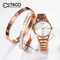 T400 腕表手表手镯三件套 TB004玫瑰金白面
