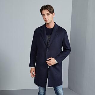 SEPTWOLVES 七匹狼 冬季新款男士大衣中长款时尚休闲翻领外套男装