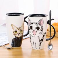 乐彼家居 创意陶瓷杯大容量水杯马克杯简约情侣杯子带盖勺咖啡杯牛奶杯茶杯