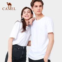 CAMEL 骆驼 运动短袖t恤男女圆领上衣简约百搭夏薄款简约打底衫棉情侣款