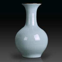 联怡 天青色等烟雨 而我在等你— 冰裂釉赏瓶 高30.5cm 古官窑插花器 装饰品摆件
