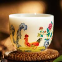 GUANFU MUSEUM 观复博物馆 如脂如玉,柔和莹润—鸡缸杯景德镇茶具 独酌(一只装)3.3x5cm 主人茶杯 仿古创意套装茶具