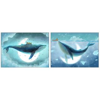 儿童房装饰画《鲸梦奇遇 G》60×43cm 卡通鲸鱼梦幻床头房间童趣墙画挂画小清新
