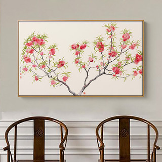 薛继业 植物花卉装饰画《A款 桃花》100×60cm 油画布 浅木色实木框
