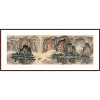 橙舍 连绵的山峰、高耸入云—罗渊 聚宝盆风水挂画《江山雨霁玉玲珑》装裱80x190cm 宣纸 雅致红褐