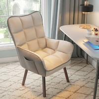 古雷诺斯 电脑椅子家用舒服久坐沙发椅卧室宿舍电竞凳书房办公舒适座椅休闲旋转升降主播椅 S6267-01-米白