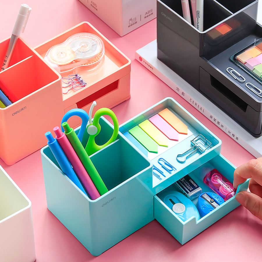 得力多功能时尚笔筒日式桌面个性创意文具收纳盒架小学生儿童办公室用品可爱少女ins简约北欧大容量笔桶网红