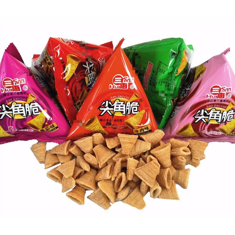 三惠尖角脆1000g三角塔膨化食品小包装休闲零食小吃 混合1000克