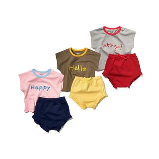 Minizone minizone夏季夏天款女宝宝婴儿小童纯棉清凉无袖上衣T恤短裤套装2件装0-3岁