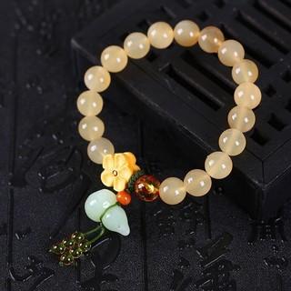 天然藏传羊角圆珠手链 10mm 搭配天然岫玉葫芦 黄杨木梅花 精美配饰