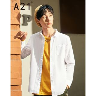 A21 以纯线上品牌A21男装衬衫男春季 多色型格穿搭男士上衣修身衬衣衬衫免烫衣服4731170013 特白 S