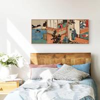 上品印画 新中式居酒屋浮世绘样板房装饰画《春诗歌朗诵》40x80cm 油画布 细边黑色框