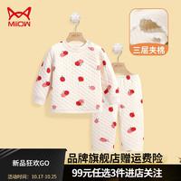 Miiow 猫人 儿童夹棉保暖内衣套装