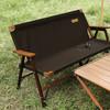 梦花园户外实木双人折叠椅便携式露营郊游凳子扶手靠背休闲沙滩椅