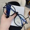防蓝光抗辐射眼镜近视女韩版潮素颜神器圆脸黑框护眼平光镜无度数