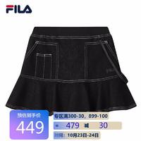 FILA 斐乐 女装运动官方女子半身裙2021秋季新款针织裙舒适修身休闲 正黑色-BK 175/74A/XL