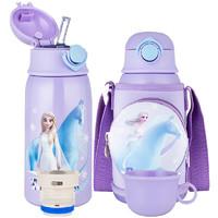 Disney 迪士尼 冰雪奇缘联名系列 WD-3614 儿童保温吸管杯 600ml 紫色 礼盒装