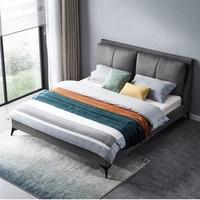 林氏木业 R277 意式轻奢真皮床 1.5*2m  不带床垫