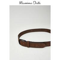 Massimo Dutti 磨面皮皮革条纹时尚腰带 01051463763