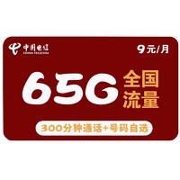 CHINA TELECOM 中国电信 紫星卡 9元月租(35G通用流量+30G定向流量+300分钟国内通话)