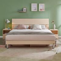 31日20点:QuanU 全友 106302 现代简约卧室板式双人床 1.5/1.8m+床头柜*2