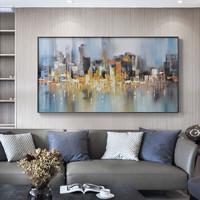 海龙红 城市建筑loft大别墅油画《华灯初上 B》60x80cm 油画布 黑色外框