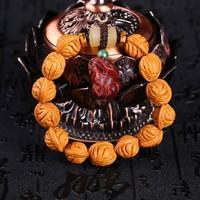 天然野生秦岭龙纹桃核手串 13mm 13颗 搭配手工雕刻的紫檀貔貅吊坠 羊角竹节 适合盘玩