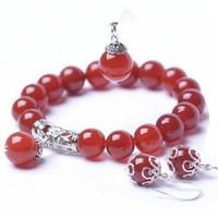 时尚民族风三件套首饰 红玛瑙手链项链吊坠套装礼物 送闺蜜女友礼物