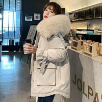 La Chapelle 拉夏贝尔 棉服女21年冬季女装加厚派克服女时尚百搭棉衣女 米白色 M