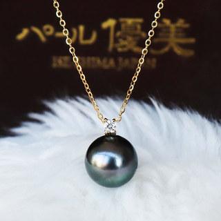 PearlYuumi大溪地黑蝴蝶珍珠9-10mm 一颗钻项链 K18 D0.04ct