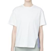 izzue 开衩设计条纹拼接 T 恤
