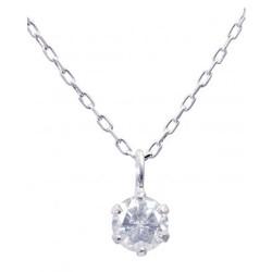 GLADD K18WG白金天然钻石项链 0.1ct