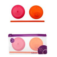 B.Box 通用便携硅胶盖(吸管杯盖+吸管+鸭嘴杯盖) 红橙色