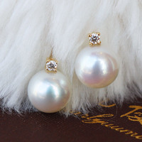 PearlYuumi 優美珍珠 K18 akoya珍珠1粒钻石耳钉
