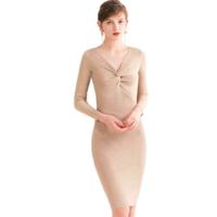 MSPARIS SELECT KY285C 针织打结修身连衣裙