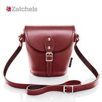 Zatchels 女士真皮深红色水桶包 小号