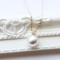 PearlYuumi 優美珍珠 Akoya珍珠钻石项链 18K金 7.5-8mm