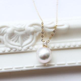 PearlYuumi 優美珍珠 Akoya珍珠1粒钻石项链18K金自由调节长度
