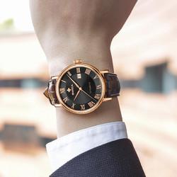 瑞莎(swiza)瑞士手表 男士全自动机械表日历真皮带商务休闲时尚防水 全自动机械金边棕色表带