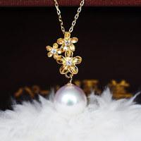 PearlYuumi 優美珍珠 K18 akoya海水珍珠 小金花钻石吊坠 8-8.5mm