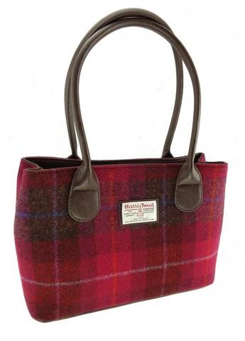 Harris Tweed  哈里斯凯史雷 深粉色方块经典手提包