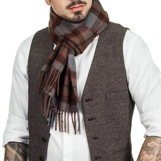 Outlander 欧兰地 格子纯羊毛围巾