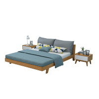 夏树 Rb-01 实木床北欧卧室床 (原木色 1.8M单床)