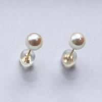 值友专享:PearlYuumi 優美珍珠 日本akoya海水珍珠5-5.5mm耳钉 K18金