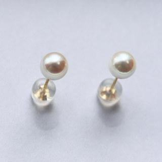 PearlYuumi 優美珍珠 日本akoya海水珍珠 5-5.5mm K18金耳钉