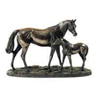 Genesis 创世纪铜雕 - 站立的母马和马驹