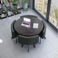 TIMI 天米 北欧简约胡桃色餐桌椅组合 一桌四椅