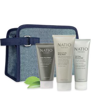 NATIO 男士活力套装(洁面乳100g+保湿乳霜100g+沐浴露210ml)