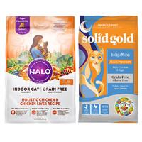 必买年货:Halo自然光环成猫粮 10磅 + solid gold素力高全猫粮 12磅