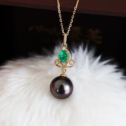 PearlYuumi 大溪地黑珍珠18K 绿宝石钻石吊坠项链